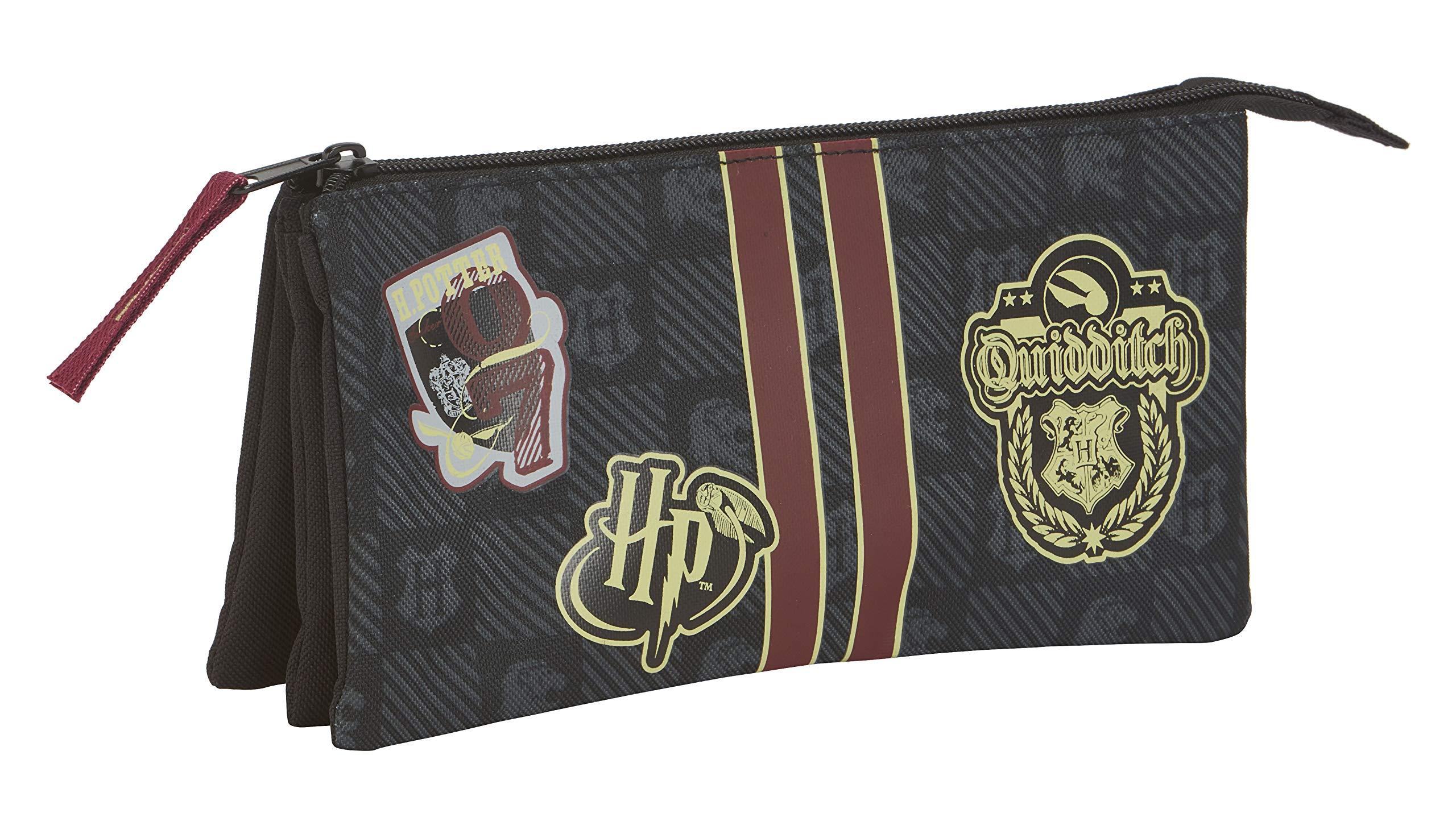 Safta – Estuche Portatodo Triple de Harry Potter Oficial Gryffindor con Cremallera Ultraligero