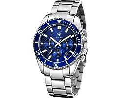 VICVS Relojes para Hombre Cronógrafo Reloj de Cuarzo analógico Resistente al Agua Reloj de Pulsera de Acero Inoxidable de dis