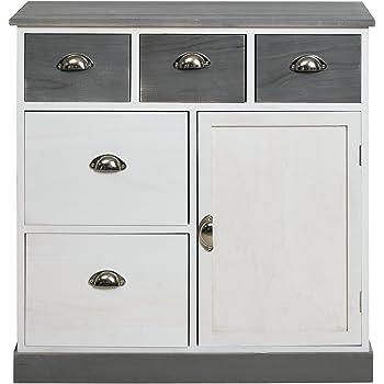 rebecca srl meubles de rangement commode armoire 5 tiroirs 1 bois gris blanc urban salon chambre