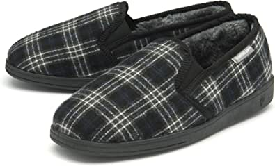 Dunlop Mens Slippers Slip On Twin Gusset Comfy Fur Lined Memory Foam Sizes 7-12