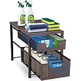 INDIAN DECOR. 50331 2-Tier Stackable Under Sink Cabinet with Sliding Storage Drawer, Desktop Organizer for Kitchen…