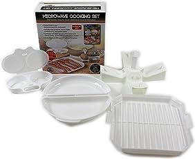 4set cucina microonde plastica bistecchiera frittata di uova, cuocere patate cucina