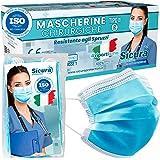 50 Mascherine CHIRURGICHE per Adulti Certificate CE Tipo IIR BFE ≥ 98% Prodotte in Italia - Mascherina Italiana monouso con e
