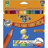BIC Kids - 9202982 - Evolution ECOlutions - Etui Carton de 18+6 Crayons de Couleur, Coloris Assortis