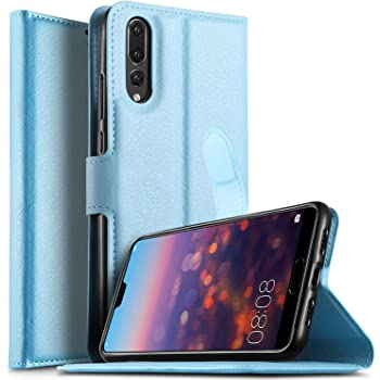 KuGi for Huawei P20 Pro case, Premium PU Wallet Case, [Card Holder] [ID Holder] [Book Case] [Pu Leather] [Drop Proof] Slim Flip Folio Protective Phone Cover for Huawei P20 Pro Smartphone.Blue