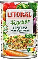 LITORAL Vegetal Plato Preparado de Lentejas con verduras, Sin Gluten, 430g