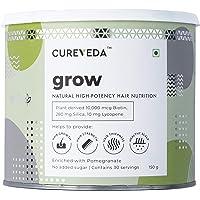 Cureveda Grow Plant Based Biotin 10000 mcg High-Potency Hair Nutrition.Hair fall,premature greying, Hair Growth,Healthy…