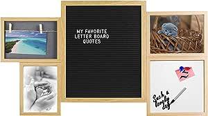 Gadgy ® Letter Board e Lavagna Magnetica Bianca in Uno   Dimensioni 43 x 74,2 x 2 cm   con 170 Lettere Bianche, 2 Mollette, 2 Magneti e 1 Pennarello