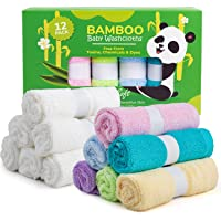 Spring Rose 12 Bamboo Baby Washcloths - Natural, Organic Facial Towel for Adults, Babies - Soft, Thick, Absorbent, and Hypoallergenic Face and Body Cloths - Registry, Household, Newborn Shower Gifts