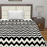 Divine Casa Natty Geometric Microfibre Single Blanket - White and Black