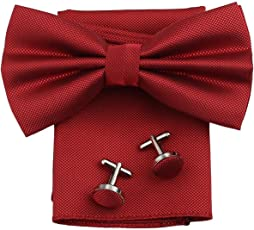 Fobhiya International Butterfly Shape Microfiber Bow Tie with Pocket Square & Cufflinks
