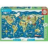 Educa - Mapamundi-Sean Sims Aldeas SOS Puzzle Infantil de 200 Piezas, a Partir de 6 años (17727)
