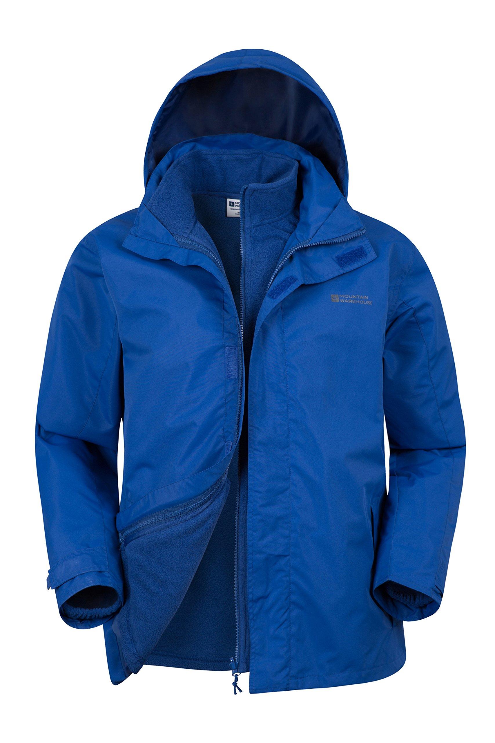 Mountain Warehouse Fell Mens 3 in 1 Water Resistant Jacket – Adjustable Hood Mens Coat, Detachable Inner Fleece Rain…