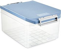 Tatay Caja Almacenaje Multiusos con Tapa, 14 L de Capacidad, Con Asas, de Polipropileno, Libre de BPA, Azul Paloma, Medidas 2