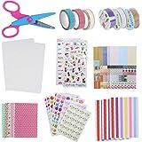 NACTECH Kit Fotos Album de Bricolaje DIY Accesorios Decorativos Scrapbook 14 Conjunto de Pegatinas Colores 6 Cintas de Encaje