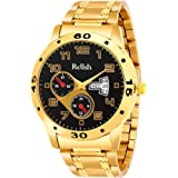 Relish Analogue Men's Watch (Multicolored Dial Gold Colored Strap)