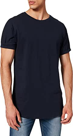 URBAN CLASSICS Men's Long Basic Tee with Round Neckline & Hem, Men's T-Shirt with Turn-Up Finish and Overcut Shoulders, Short-Sleeve T-Shirt with Long Fit, Different Colours Available, Sizes: S-5XL