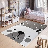 TAPISO Pinky Tapis de Chambre Enfant Bébé Ado Design Moderne Gris Blanc Noir Ours Jeu Fin Doux Résistant 80 x 150 cm
