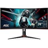 "AOC Monitor Gaming CU34G2X/BK - 34"" Curved 1500R WQHD, 144Hz, 1ms, VA, Freesync Premium, 3440x1440, 300cd/m, HDMI 2x2.0, Disp"