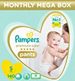 Pampers Premium Care Pants, Small size baby diapers (SM), 140 Count, Softest ever Pampers pants