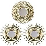 BONNYCO Miroir Murale 3 Pièces Miroir Rond pour Decoration Murale dans Maison, Salon et Chambre   Miroir Soleil Accrocher au