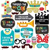 Party Propz First Birthday Photo Booth Props-24Pcs For 1st Bday Theme Supplies/Girl Boys Baby Kids Combo Decorations Items/Ca
