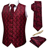 Barry.Wang Formal Mens Vest Set Paisley Tie Handkerchief Cufflink Clip Suit Waistcoat Designer 5PCS