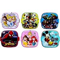 Perpetual Bliss Disney Cartoon Character Printed Lunch Box for Kids/Double Layer (13x13x10cm) (Pack of 6)
