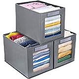 DIMJ Cajas de almacenaje Plegable, Conjunto de 3 Cajas Organizadoras Tela, Cubos de Almacenamiento con Ventana Transparente,