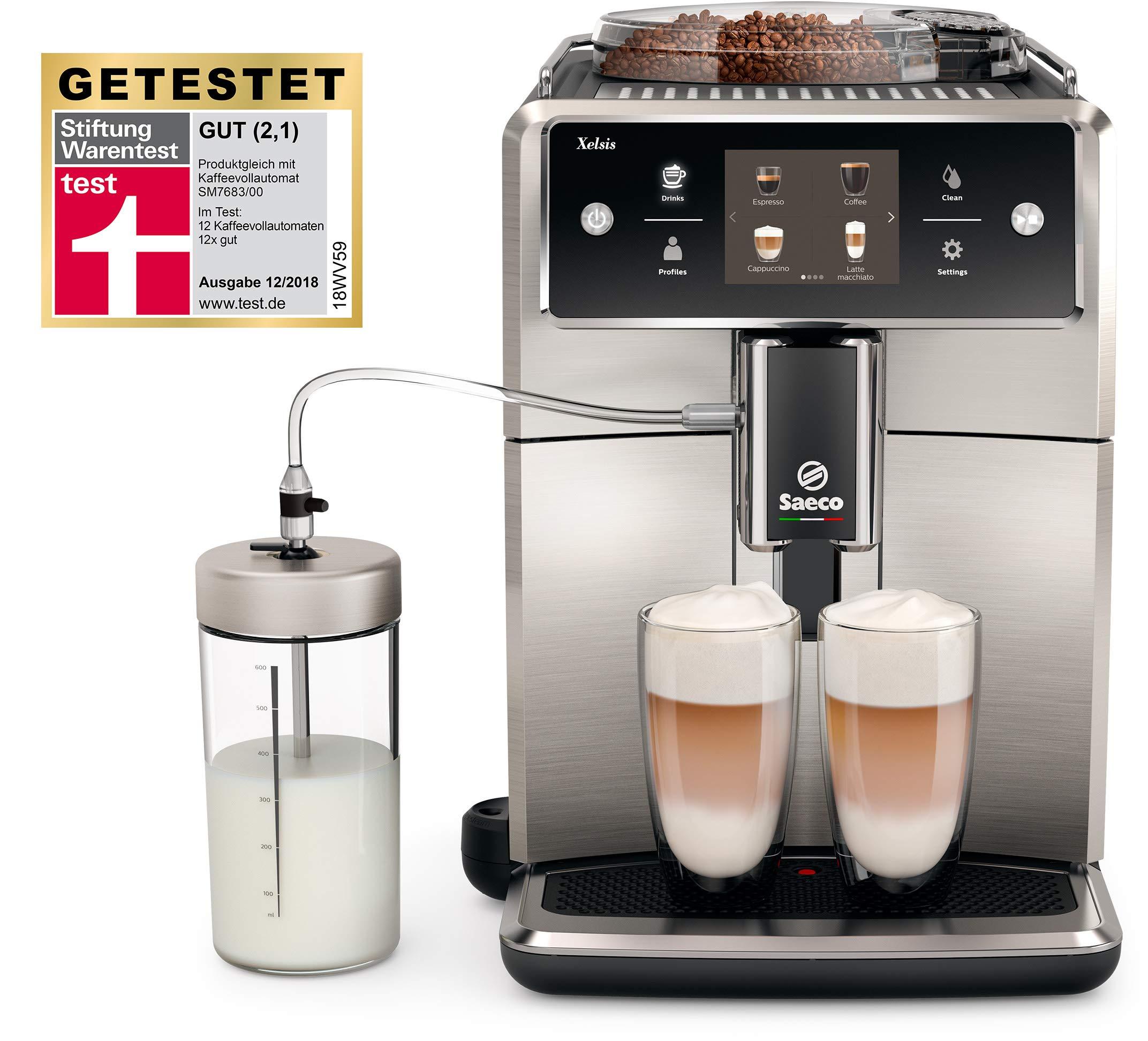 Saeco SM7683/10 Xelsis Kaffeevollautomat mit Touchscreen und Milchbehälter