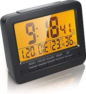 CSL DCF Réveil de Voyage numérique sans Fil DCF avec écran LCD 2,7 Pouces Rétro éclairage LED Orange DCF77 Signal Radio Alarme et Fonction répétition