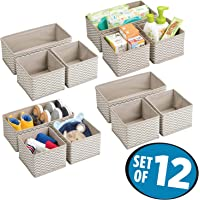 House of Quirk Storage Box Set of 12 Closet Dresser Drawer Organizer Cube Basket Bins Containers Divider with Drawers for Underwear, Bras, Socks, Ties, Scarves, Grey