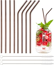 Pentaton Strohhalme aus Edelstahl, 8 Wiederverwendbare Trinkhalme, 3 Reinigungsbürsten, Metalltrinkhalme, Länge 21,5cm