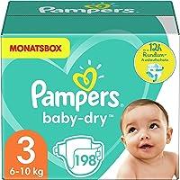 Pampers Windeln Größe 3 (6-10kg) Baby Dry, 198 Stück, MONATSBOX, Bis Zu 12 Stunden Rundum-Auslaufschutz