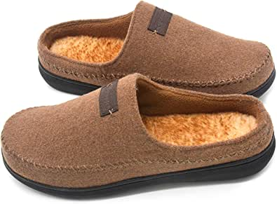 Zigzagger Men's Felt Fuzzy Breathable Slippers Memory Foam Indoor Outdoor House Shoes