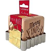 SCRAP COOKING 5138 Tampon Pâtisserie en Bois à Motifs de Noël-avec 1 Découpoir Emporte-Pièce Biscuit & Cube Xmas avec 5…