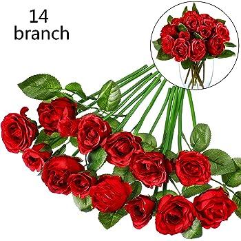 14 Mazzi Rosa Finto Fiore Artificiale Bouquet di Fiori di Seta per Matrimonio, Stanza, Casa, Hotel, Decorazione della Festa e Regalo di Festa, 12 Pollici (Colore 3)