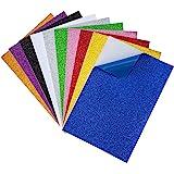 MaoXinTek Feuilles à Paillettes Papier en Mousse A4 Autocollantes Carton Scintllant pour Enfants Artisanat, Scrapbooking Cart