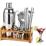HB life 1 Ensemble Cocktailhaker Coffret Cadeau 15 Acier Inoxydable avec Un Bar Socle en Bambou amélioré et Un Grand Cocktail de 750 ML, Silver, 1