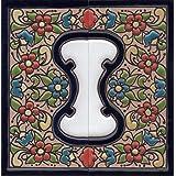 Huisnummers Keramische Nummers & Letters Tegels Rood Blauw & Groen Bloemen Ontwerp Tegel Grootte: 11cm x 5.5cm 2 tot 7 Tegelf