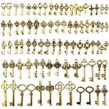 VEGCOO 82 Pcs Mixtes Vintage Squelette Clés, Clés Squelette en Antique Bronze pour Faits à la Main Collier Pendentifs Fabrica