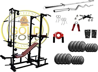 Gold Fitness ABS Tower With Push Up DIPS And Workout 20 In 1 Bench
