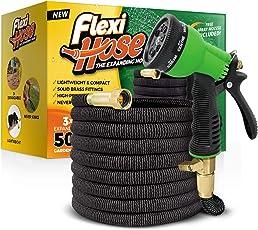 FlexiHose Upgraded erweiterbar Garten Schlauch, Extra Stärke, 3/4Massivem Messing Armaturen–Die Ultimative No-Kink Flexibler Wasserschlauch, 8Funktion Spray Enthalten