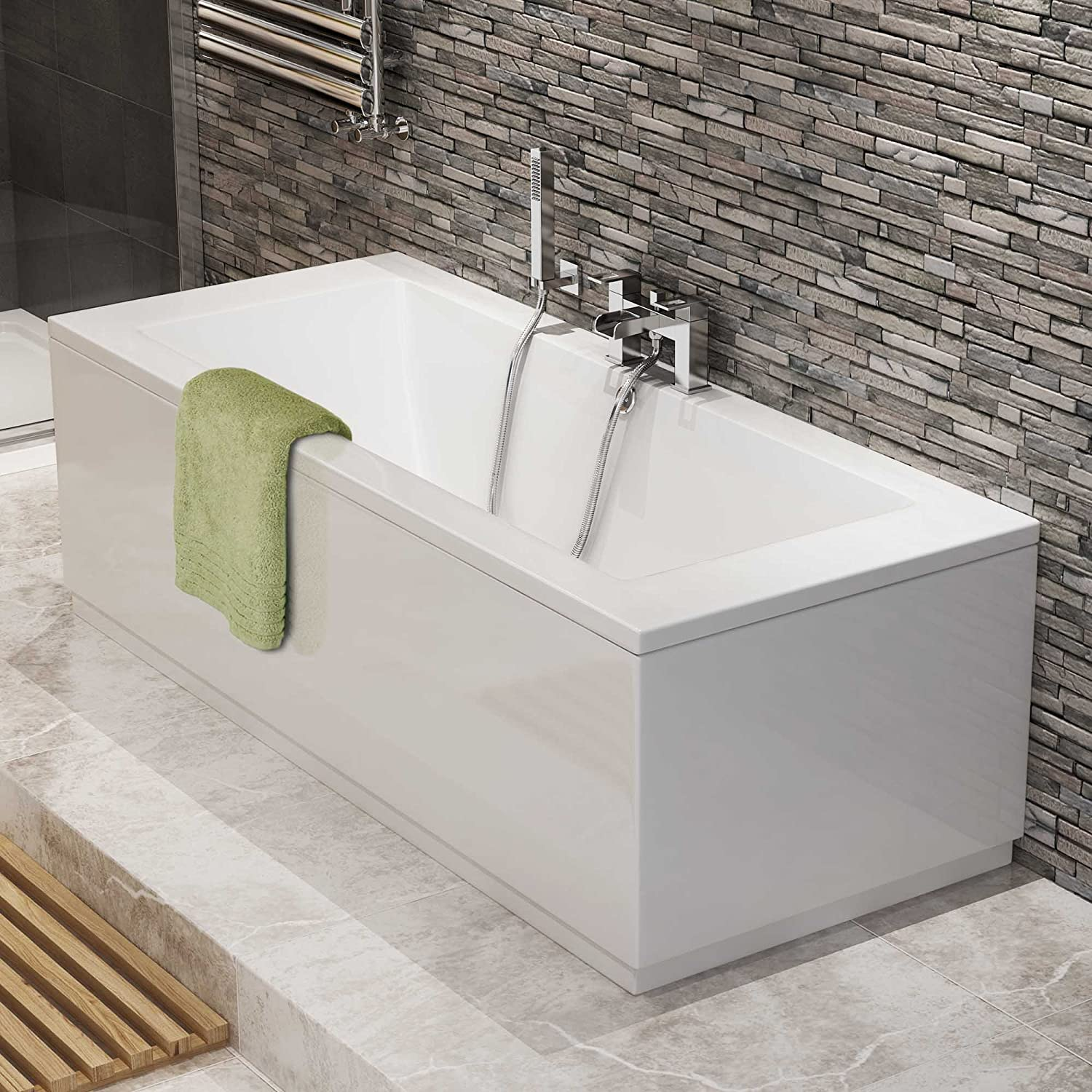 1700 mm Luxury Square Double Ended Bath Modern Straight White ...