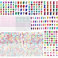 Aoligei 1209 Pièces Auto-adhésif, Autocollants strass Cristal Gem Stickers Assorti Couleurs et Formes Acrylique Coloré…