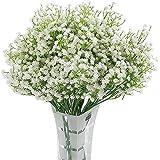 Homcomodar 12 Pack Flores Artificiales Bebés Flores de Aliento Plantas de Gypsophila Falsas Ramos para el Hogar de la Boda De