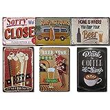 Chapas Decorativas Vintage [ Bar, Cafetería, Restaurante, Cocina ] Pack de 6 Chapas con Relieve | Placas Metálicas Retro para