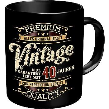 0cfb2eb8d0a RAHMENLOS Original Kaffeebecher zum 40. Geburtstag: Vintage 40 - Im  Geschenkkarton 2632