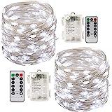 2 x10m Guirlande LED Lumineuse à Pile 100 LEDs Fonction Minuterie avec Télécommande IP65 Etanche Décoration intérieur et exté