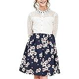 Sunny Fashion Vestito Bambina Pizzo Perla Prugna Fiorire Elegante Principessa 7-14 Anni